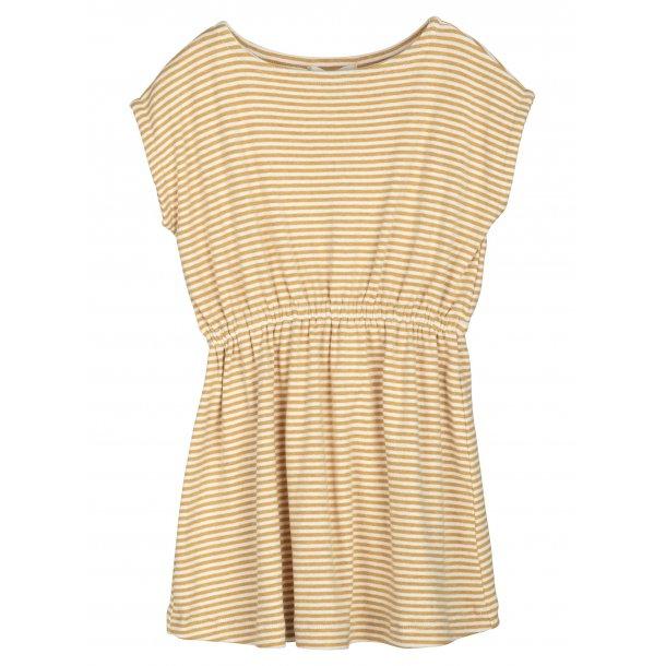 SERENDIPITY - T-Shirt kjole i honey-offwhite stribe