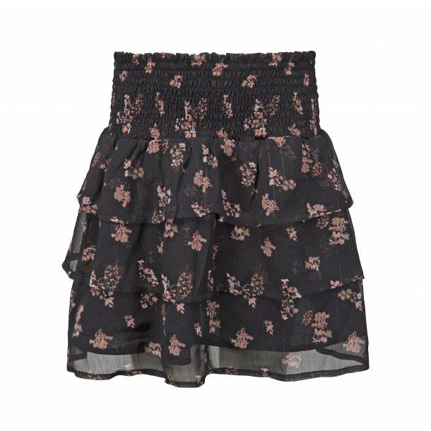 SOFIE SCHNOOR - Nederdel i sort med blomster. NY