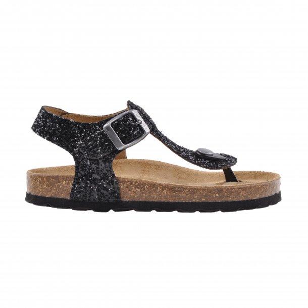 SOFIE SCHNOOR - Sandal i sort glimmer med trykknap