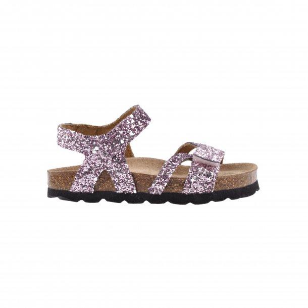 SOFIE SCHNOOR - Sandal i rose glitter med velcro