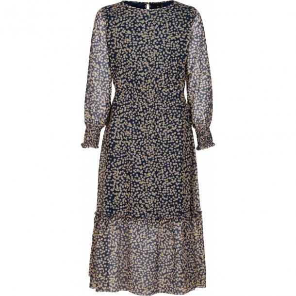 THE NEW - Lang kjole i mørkeblå med blomster. Oprah