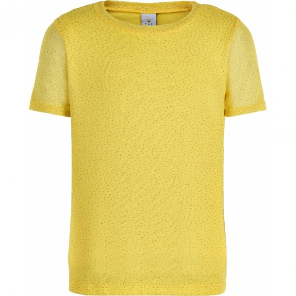 THE NEW - T-Shirt i gul mesh med glimmer. Odessa