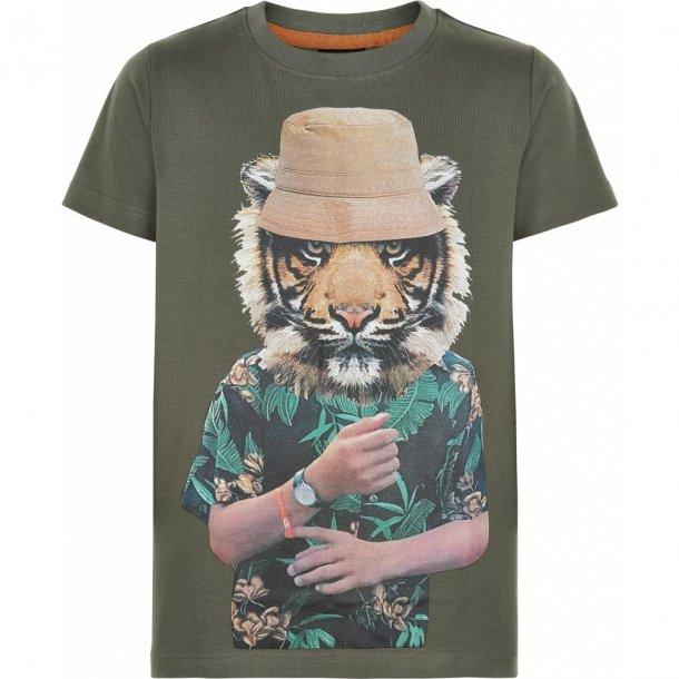 THE NEW - T-Shirt i grøn med tiger. Pepe