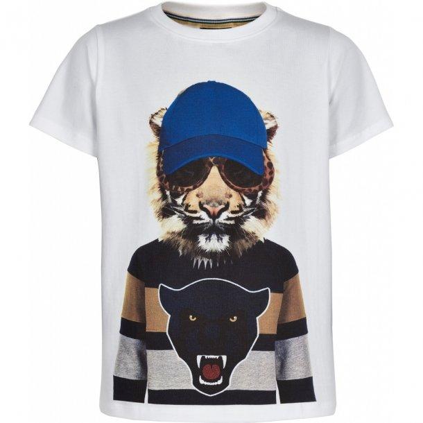 THE NEW - T-Shirt i hvid med cap-tiger. Ober