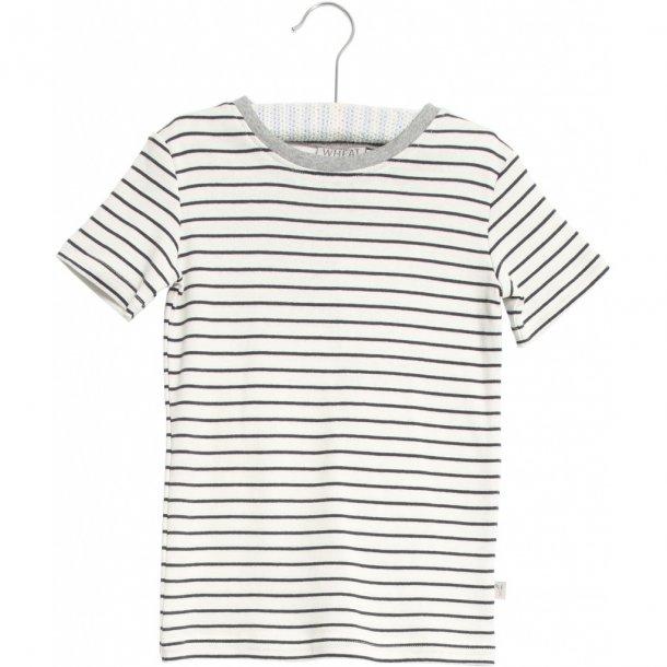 WHEAT - T-Shirt i hvid med blå striber. Wagner