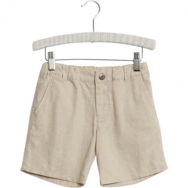 WHEAT - Shorts i sandfarvet hør.