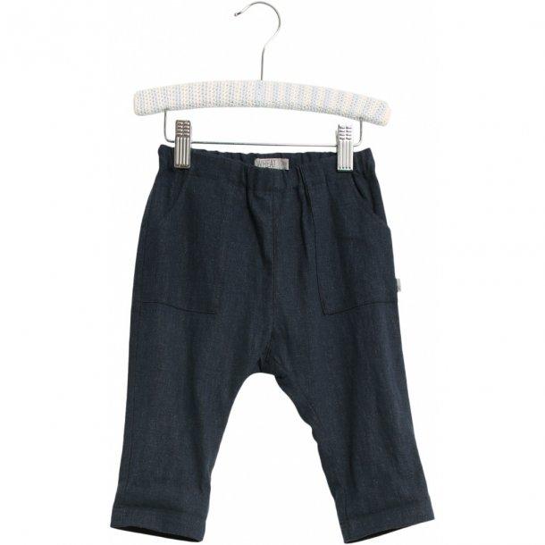 WHEAT - Baby bukser i blå hør. Subash