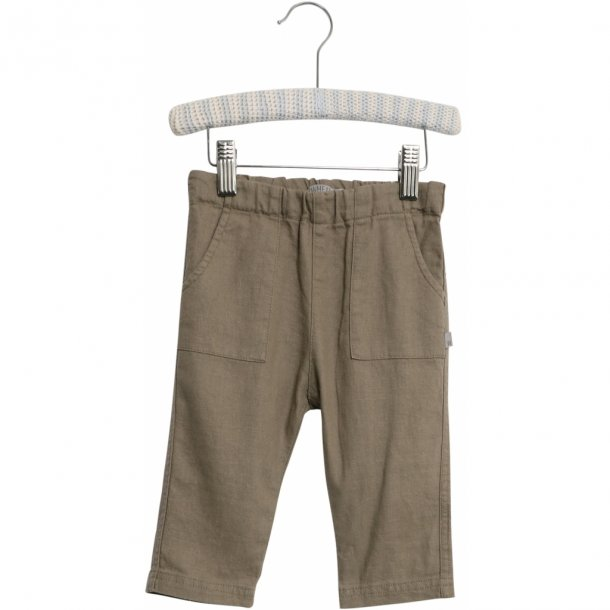 WHEAT - Baby bukser i beige-brun hør. Subash