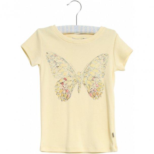 WHEAT - T-Shirt i lemond curd med sommerfugl